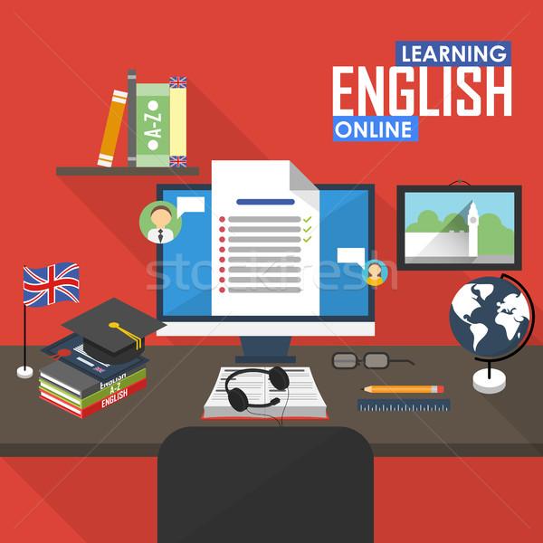 Distanza english lingua online istruzione formazione Foto d'archivio © studioworkstock