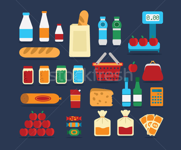 Big set of food products. Vector. Stock photo © studioworkstock
