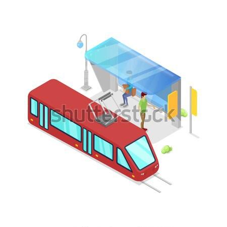 スクールバス 停止 アイソメトリック 3D アイコン 市 ストックフォト © studioworkstock