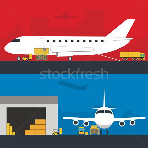 Logistica infografica banner set vettore infografica Foto d'archivio © studioworkstock