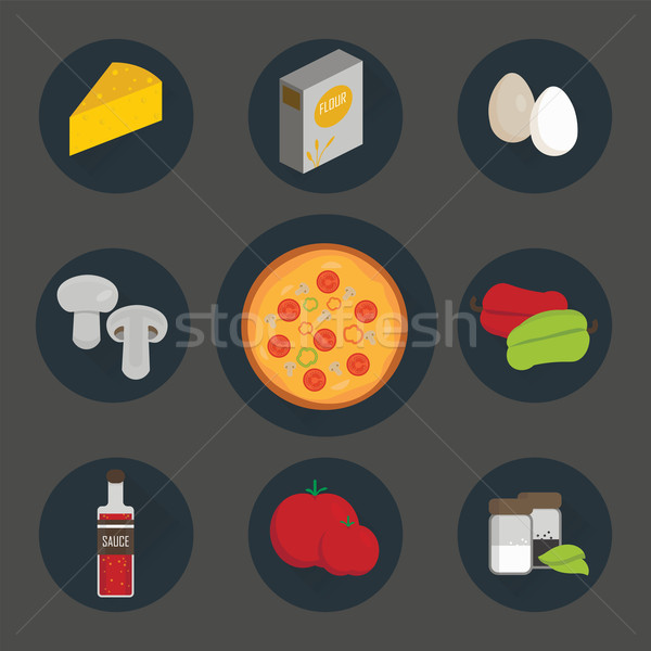 Icons set of process cooking pizza. Stock photo © studioworkstock