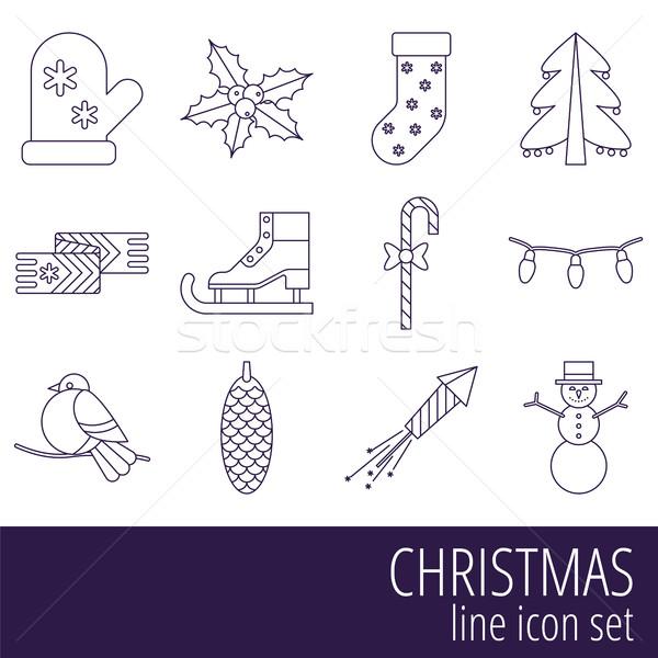 Navidad año nuevo vector línea estilo Foto stock © studioworkstock