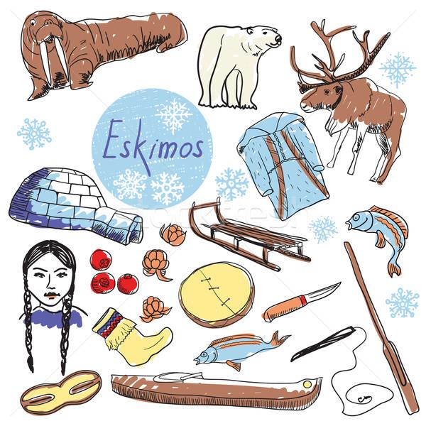 Vector set of tourist attractions Eskimos. Stock photo © studioworkstock
