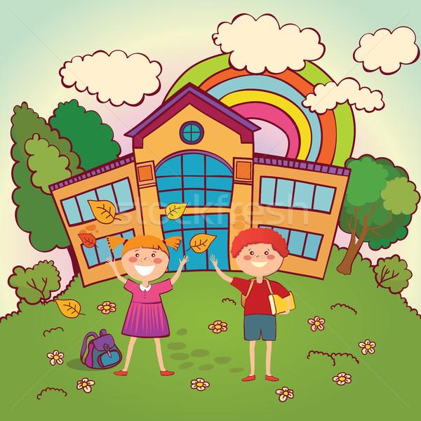 çocuklar okula geri iki okul dönmek tatil Stok fotoğraf © studioworkstock