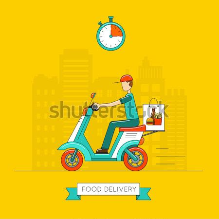 Modern scooter on road poster in flat style Stock photo © studioworkstock
