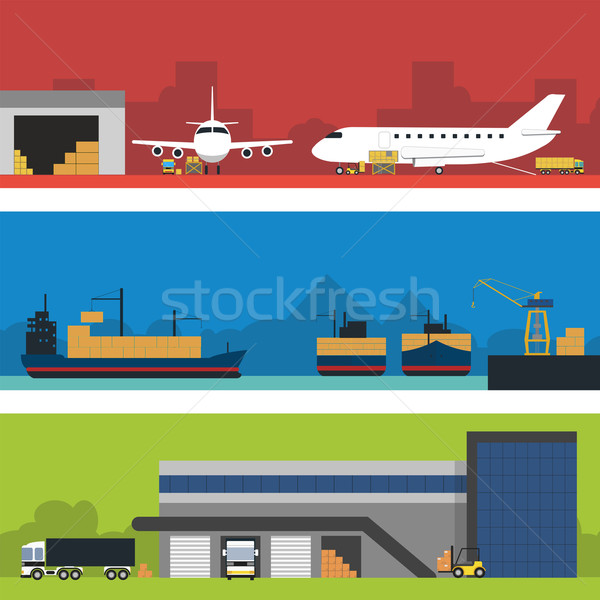 Logistics infographic banner set. Flat vector. Stock photo © studioworkstock