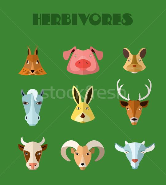 Farm animals icons. Vector format. Stock photo © studioworkstock