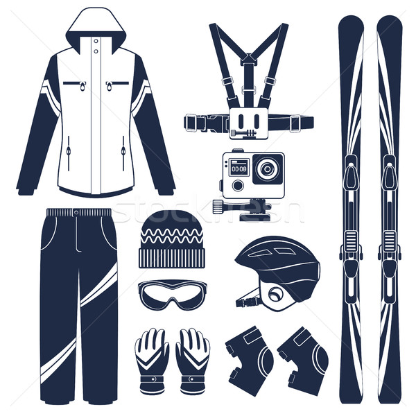 Narty ekstremalnych zimą sportowe narciarskie wyposażenie Zdjęcia stock © studioworkstock