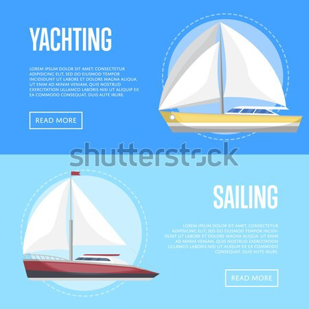 Sailing poster with side view sailboats Stock photo © studioworkstock