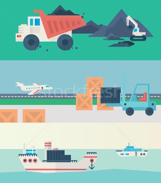 Vektör afişler ayarlamak süreç infographics web Stok fotoğraf © studioworkstock
