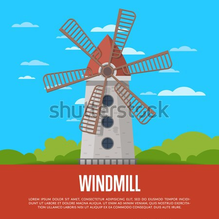 Using wind poster with wooden old windmill Stock photo © studioworkstock