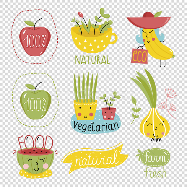 Organisch communie iconen eco bio Stockfoto © studioworkstock