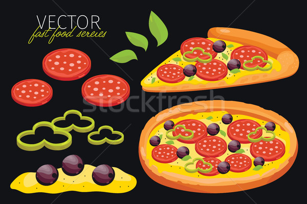 Isolato vettore pepperoni pizza fast food set Foto d'archivio © studioworkstock