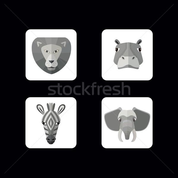 Wilde dieren iconen vector formaat ingesteld verschillend Stockfoto © studioworkstock