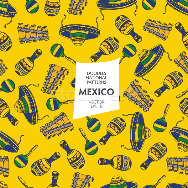Seamless pattern of tourist attractions Mexico Stock photo © studioworkstock