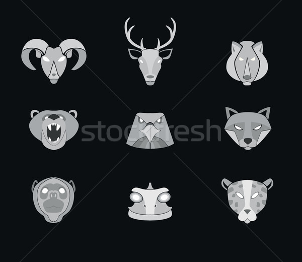 Predator animals icons. Vector format. Stock photo © studioworkstock