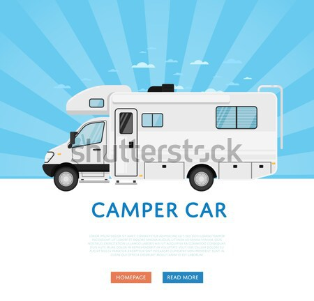 Camping trailer caravan isolated on white icon Stock photo © studioworkstock