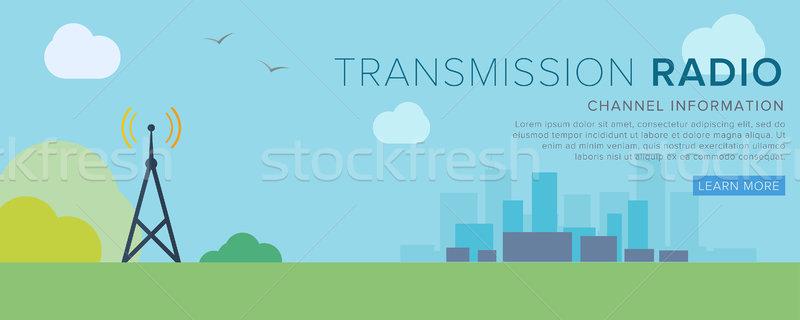 Radio Tower  Transfer radiosignal  vector illustration