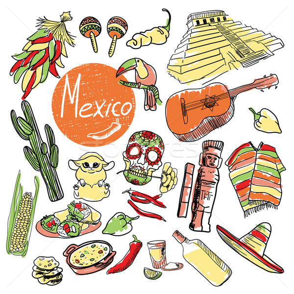 Vector set of tourist attractions Mexico. Stock photo © studioworkstock