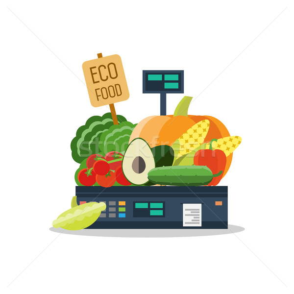 Stock photo: Natural products, vegetables and fruits on scales.