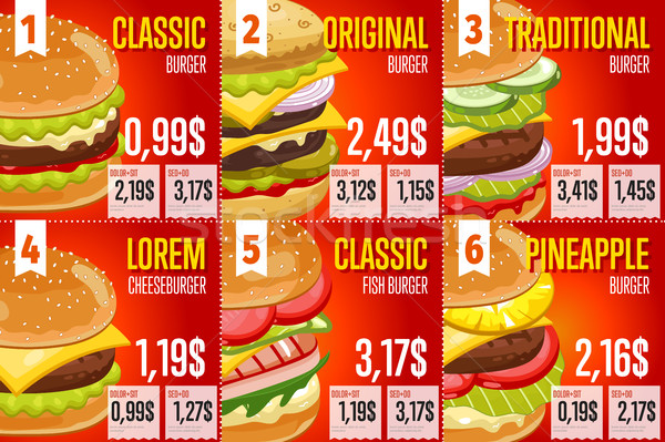 Fast food menu sjabloon fastfood restaurant communie ingesteld Stockfoto © studioworkstock