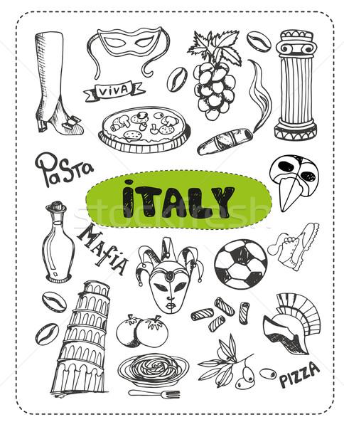 Doodle Italië ingesteld vector communie voetbal Stockfoto © studioworkstock