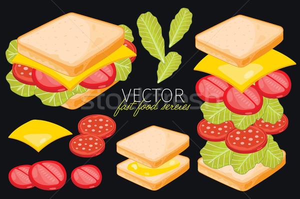 Sanduíche preto queijo isolado vetor conjunto Foto stock © studioworkstock