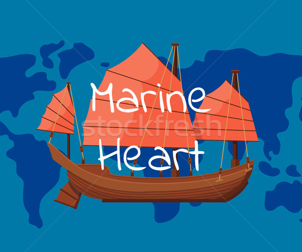 Marine heart poster with ancient oriental boat Stock photo © studioworkstock
