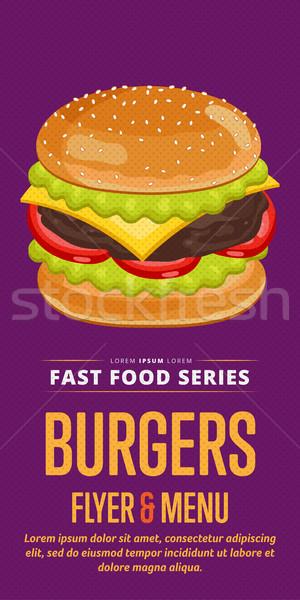 Cheeseburger vendita flyer menu modello di progettazione modello Foto d'archivio © studioworkstock