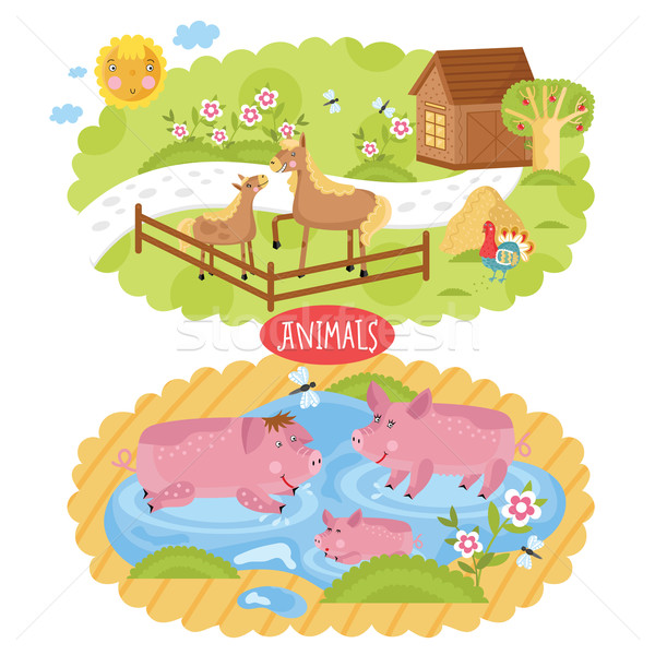 Vector animals located on farm. Stock photo © studioworkstock