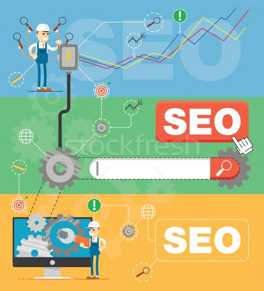 SEO optimization infographic Stock photo © studioworkstock