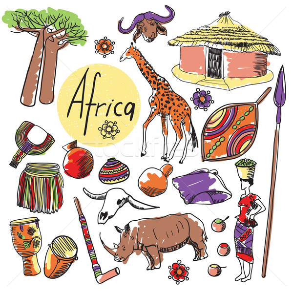 Vector set of tourist attractions Africa. Stock photo © studioworkstock