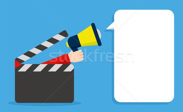 Bubble aankondiging bioscoop aankondigen première film Stockfoto © studioworkstock