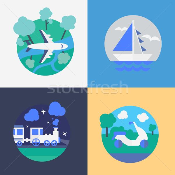 Reizen verschillend hemel wereldbol kaart zomer Stockfoto © studioworkstock