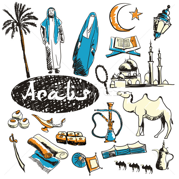 Vector set of tourist attractions Arabs. Stock photo © studioworkstock