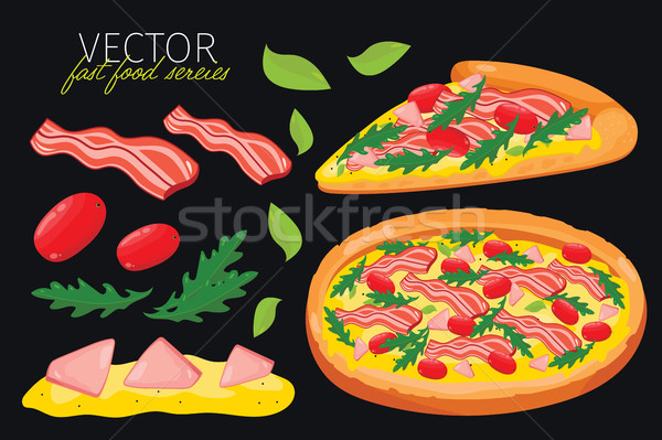 Isolated vector bacon pizza. Fast food set. Stock photo © studioworkstock