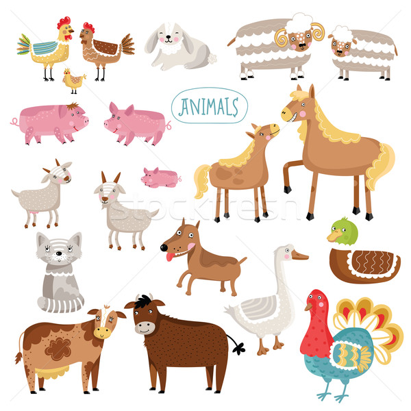 Vector illustration of farm animals. Stock photo © studioworkstock