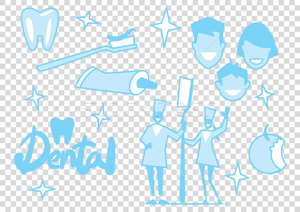 Vector tooth cleaning elements. Stock photo © studioworkstock