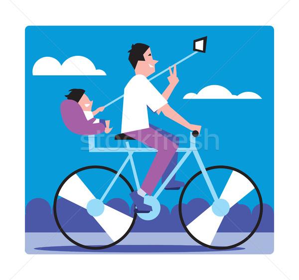 Emberek gyártmány rendkívüli gyermek sétál bicikli Stock fotó © studioworkstock