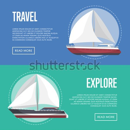 Marine heart poster with luxury yacht Stock photo © studioworkstock