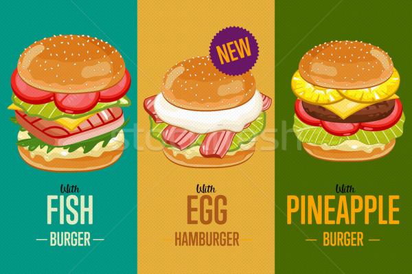 Burgers menu template. Stock photo © studioworkstock
