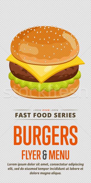 Cheeseburger venda aviador menu modelo de design modelo Foto stock © studioworkstock
