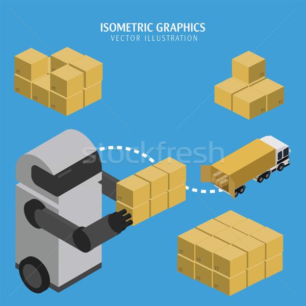 Süreç vektör infographics izometrik robot Stok fotoğraf © studioworkstock