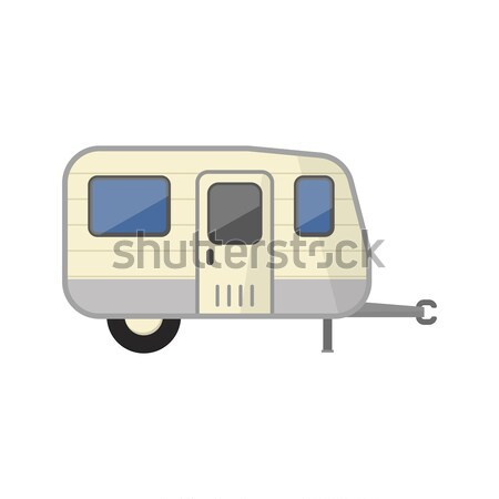 Car RV trailer isolated on white icon Stock photo © studioworkstock