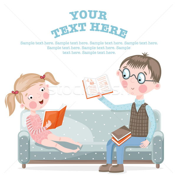 School children do homework sitting on the couch. Stock photo © studioworkstock