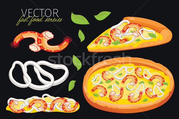 Isolated vector seafood pizza. Fast food set. Stock photo © studioworkstock