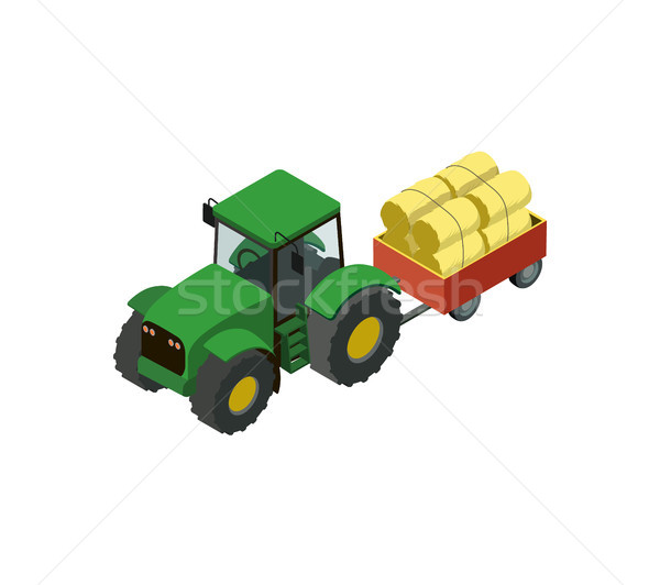 Wheeled tractor with trailer full of hay icon Stock photo © studioworkstock