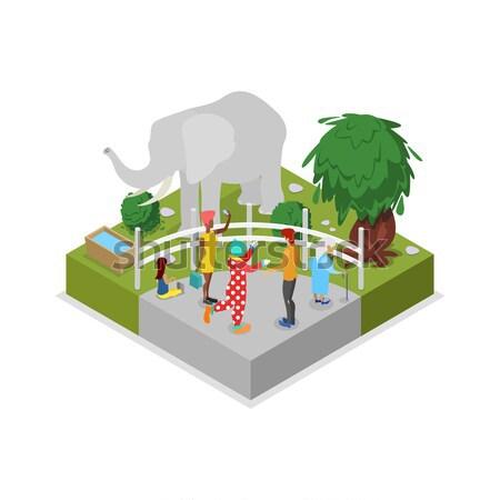 клетке изометрический 3D икона общественного зоопарке Сток-фото © studioworkstock