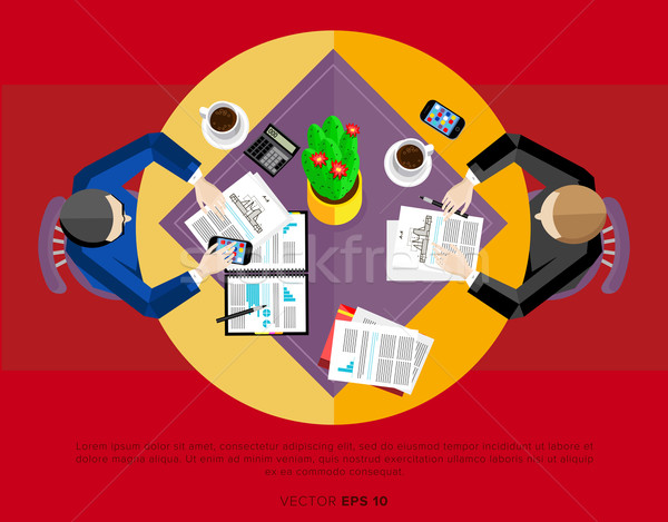 Two men at the negotiating table. Top view. Stock photo © studioworkstock