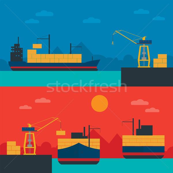 Logistyka banner zestaw wektora infografiki Zdjęcia stock © studioworkstock